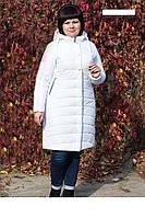 Женское, модное,зимнее полу пальто, с капюшоном больших размеров р-50,52,54,56,58,60 цвет белый,оливка