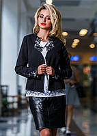 Жакет женский с кружевными вставками в черном цвете