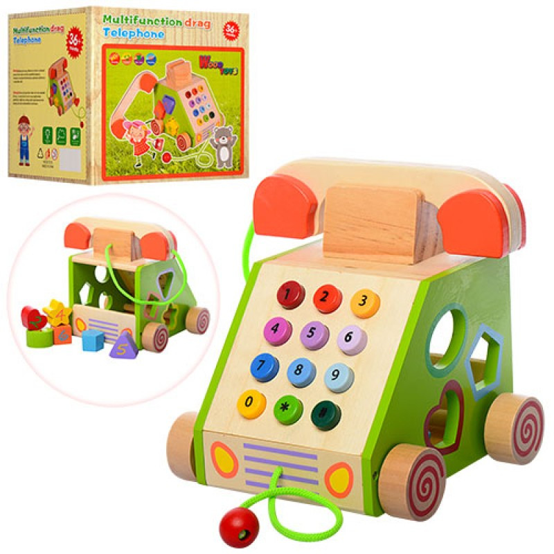 Деревянная игрушка сортер, каталка Телефон MD 1109