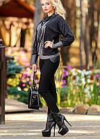 Модные черные леггинсы с кожаными вставками (р-ры М-3XL)