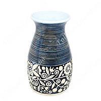 Ваза керамическая голубая с орнаментом