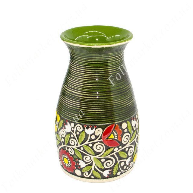 Ваза керамическая с орнаментом зеленая