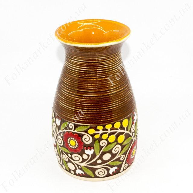 Ваза керамическая коричневая с орнаментом