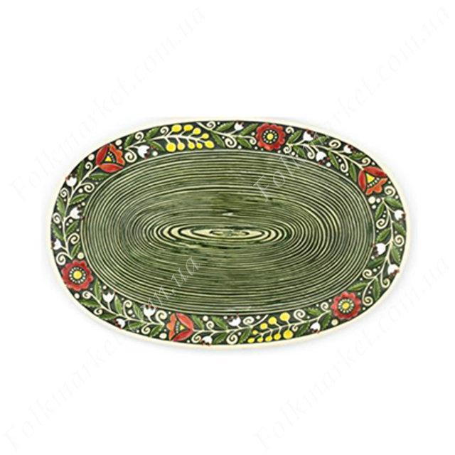 Керамическое блюдо с орнаментом овальное
