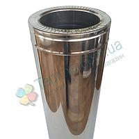 Труба-сэндвич для дымохода d 100 мм; 1 мм; AISI 304; 1 метр; нержавейка/нержавейка - «Версия Люкс»