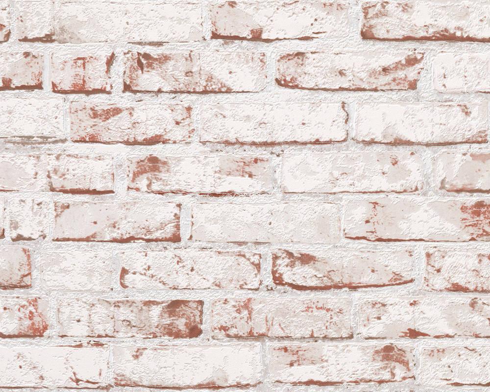 3д Обои i- 970813, фактурные кирпичи красно белого цвета, моющиеся виниловые, на флизелиновой основе