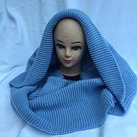 Хомут-шарф женский трансформер голубой