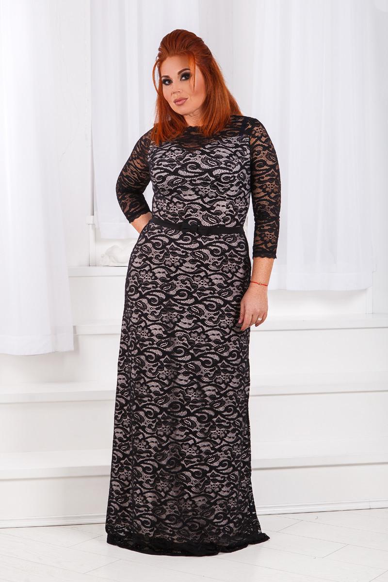 Д792 Вечернее платье размеры 50-52 Черный