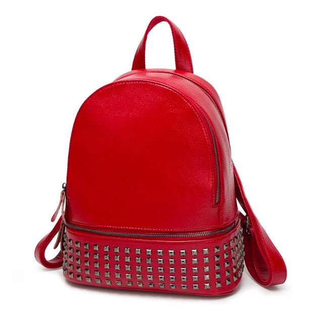 Рюкзак женский Aleksa заклепки Красный