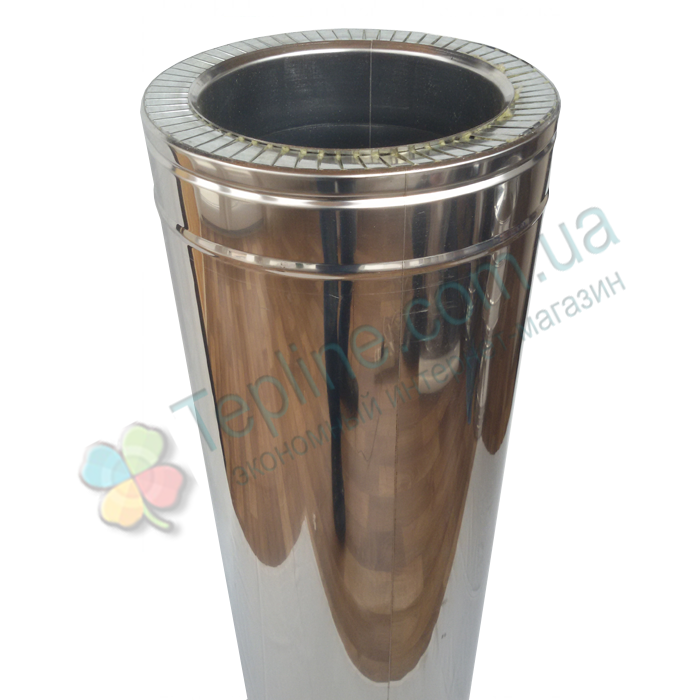 Труба-сэндвич для дымохода d 250 мм; 1 мм; AISI 304; 1 метр; нержавейка/нержавейка - «Версия Люкс»