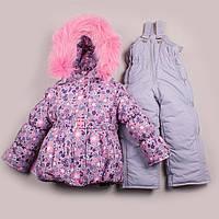 Зимний комбинезон для девочки с серыми штанами