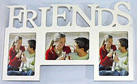 Фоторамка коллаж (мультирамка) FRIENDS белый на 3 фото 722-5
