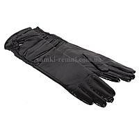 Женские кожаные перчатки черного цвета