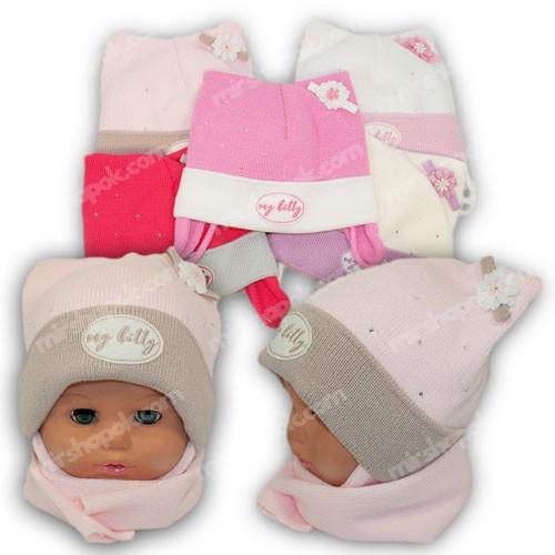 Детский комплект - шапка и шарф для девочки, р. 42-44, Grans (Польша), утеплитель флис, A775F