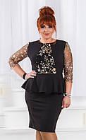 Черное нарядное платье большого размера