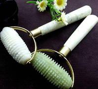 Игольчатый массажер Валик-Ёжик - для стоун-массажа нефритовым камнем и ручкой