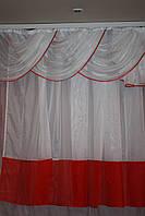 Красно -белый комплект штор для кухни