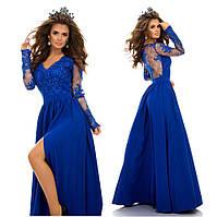 Женское шикарное вечернее пышное платье с гипюром и декольте 5 цветов