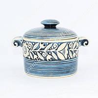 Кастрюля керамическая с цветами голубая