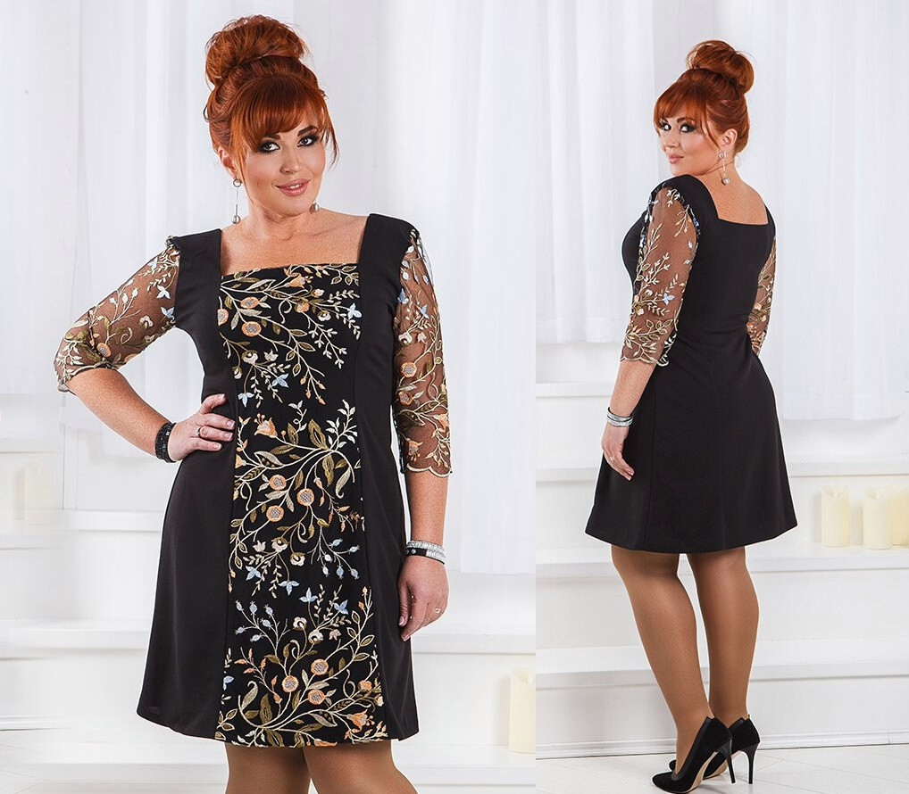 047de4bdddbaf12 Женское черное платье с вышивкой и декольте -