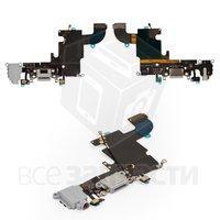 Шлейф для мобильного телефона Apple iPhone 6S, коннектора наушников, коннектора зарядки, серый, с микрофоном