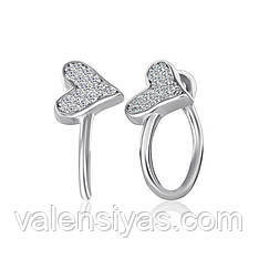 Оригинальные серебряные сережки Сердечки С2Ф/839