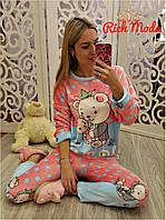 Женская велюровая пижама костюм для дома и сна