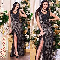 Женское вечернее длинное платье кружевное с декольте и разрезом