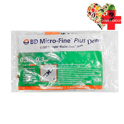 Шприц Микро Файн Плюс Деми (Micro Fine+) Demi 0,3 мл U-100 0,30 (30G)*8 мм, фото 2