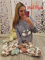 Женская велюровая пижама костюм для дома и сна на манжетах