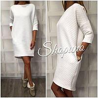Женское белое платье с набивного трикотажа букле с карманами
