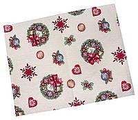 Салфетка-подкладка под тарелку сервировочная гобеленовая с новогодним принтом.