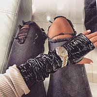 Перчатки-митенки виниловая эко- кожа черные