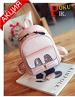 Рюкзак женский мини с блестками Кот (розовый)