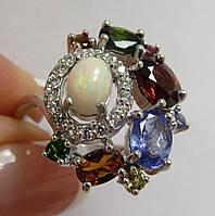 Изумительное кольцо с опалом, танзанитом, турмалинами