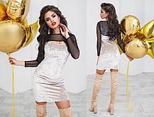 Т6002 Платье облегающее велюровое+сетка, фото 2