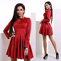 Женское пышное замшевое платье на завязках 3 цвета