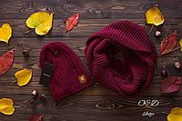 Женский комплект шапка на флисе и хомут в расцветках 13375AK