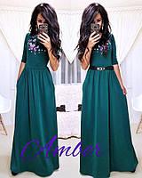 Платье макси в пол с укороченным рукавом 3/4 и поясом 13399PL
