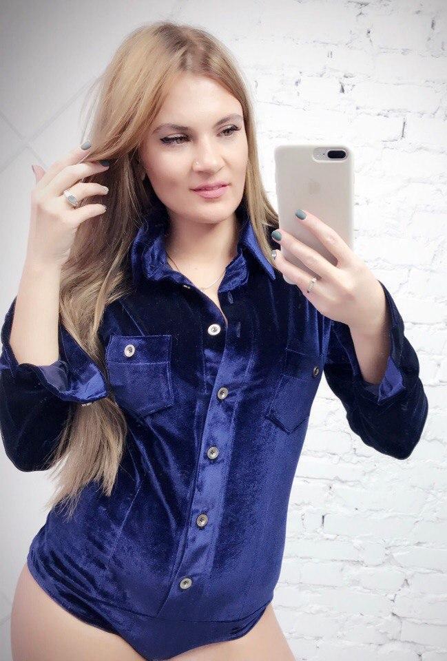 5b3492a3e359 Бархатное женское боди-рубашка с длинным рукавом 13437JB