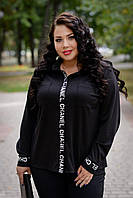 Женская рубашка батал прямого кроя из трикотажа 13456BR черный, 60