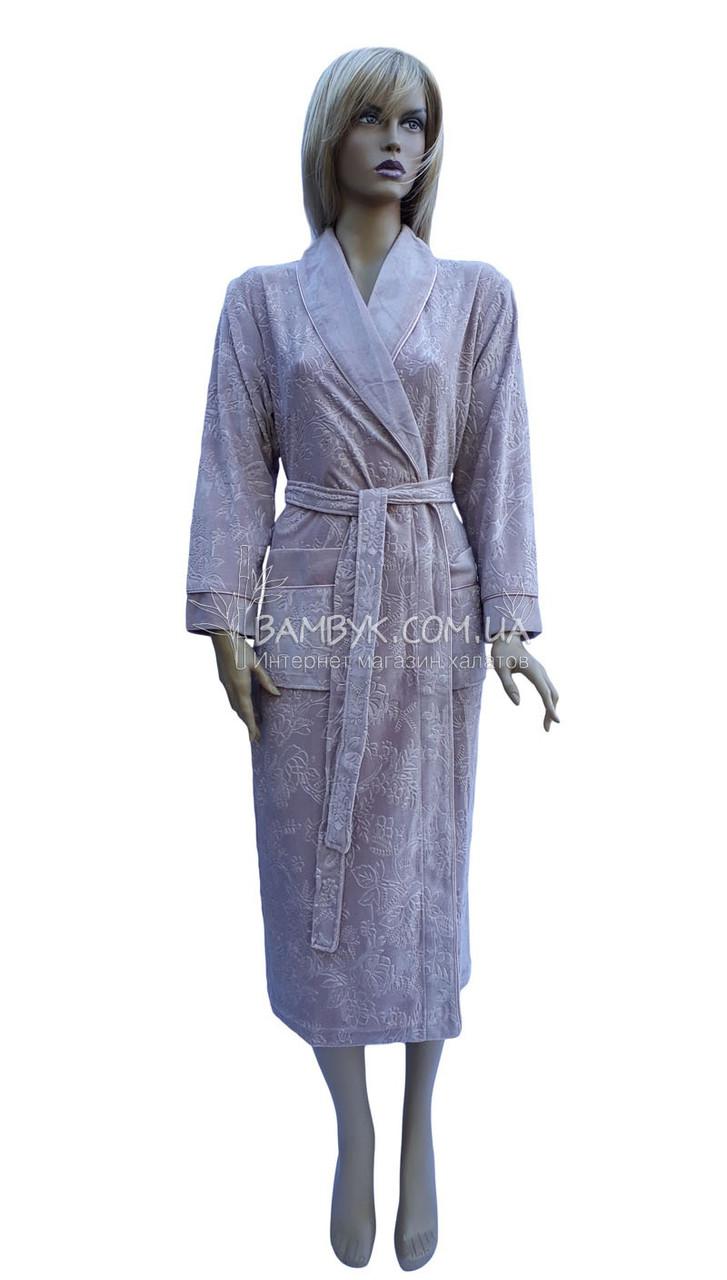 Длинный велюровый халат женский Nusa (фрез) № 8525