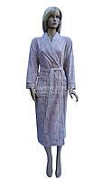 Длинный велюровый халат женский Nusa (фрез) № 8525, фото 1