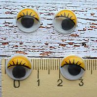 Очі для іграшок, 12мм., 2шт. жовті