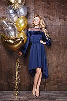 """Нарядное асимметричное платье """"Lirika"""" с оборкой и длинным рукавом (3 цвета)"""