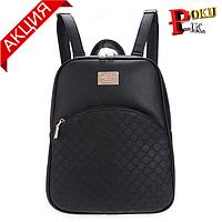 Рюкзак женский кожаный  Ромбики черный