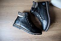 Зимние мужские  ботинки кожа   подошва: износоустойчивый полиуретан,плотный иск. мех на холодную зиму Вьетнам