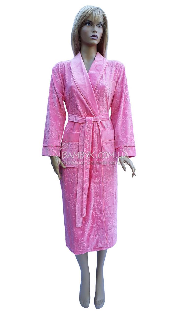 Длинный велюровый халат женский Nusa (коралл) № 8525