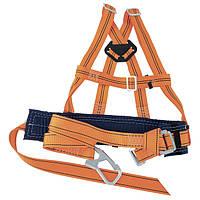 Удерживающие системы Сибртех применяются при работе на высоте. Пояс подгоняется по фигуре человека. Обхват пояса-740-1440 мм. Статическая нагрузка - не менее 15 кН (1500 кгс). Длина стропа-1,4 м.Вес-1,3 кг