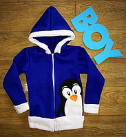 Теплая детская  кофта с нашивкой пингвин .